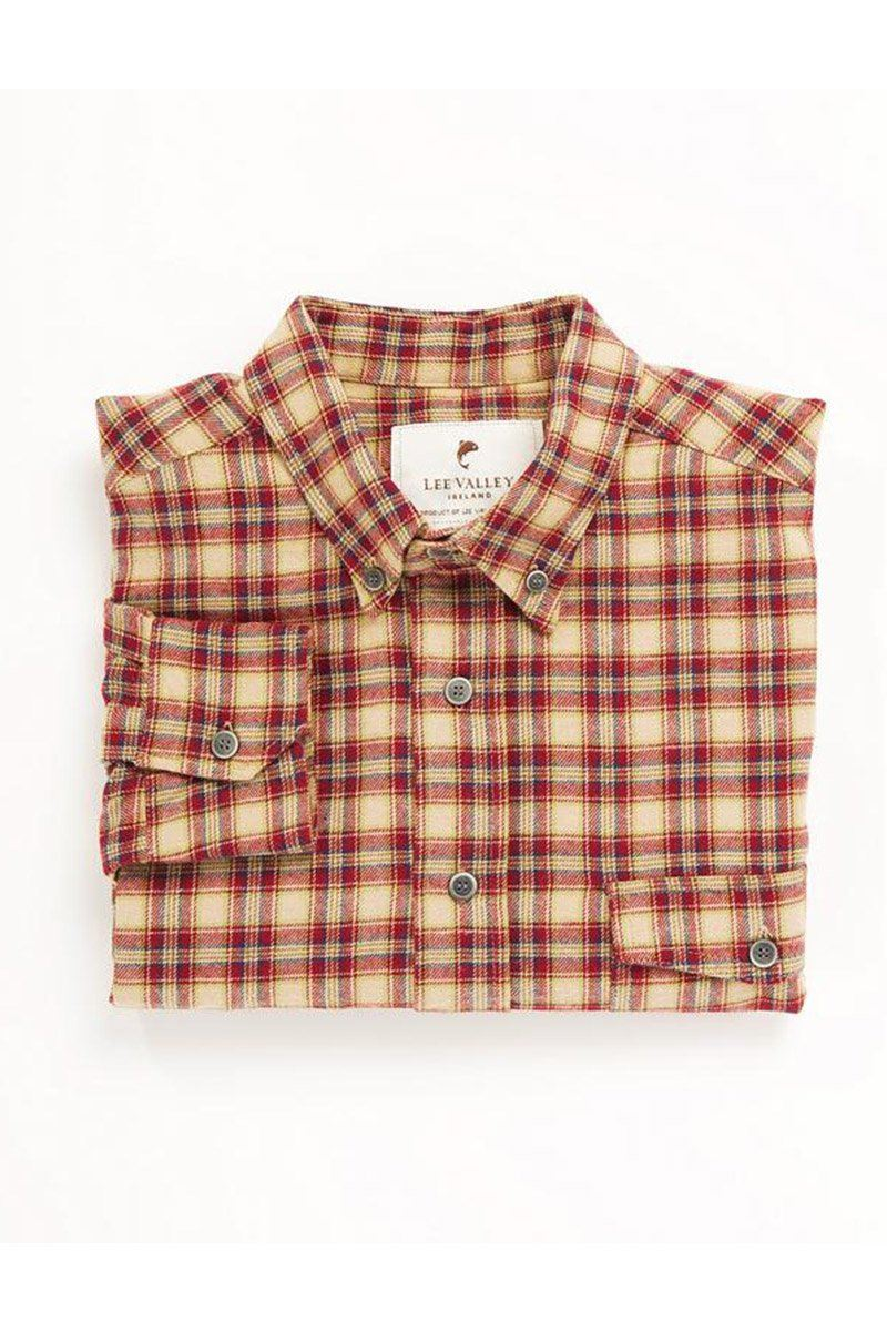 Collar Shirt Mens Cotton Flannel Claret Check (SF4) Collar Shirt Lee Valley Ireland