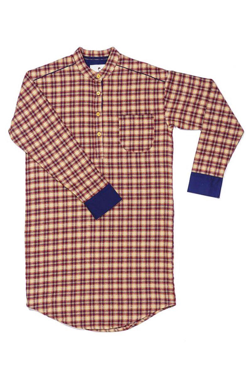 Nightshirt Irish Country Flannel Mens - SF4 Claret Check - Lee Valley Ireland - 4