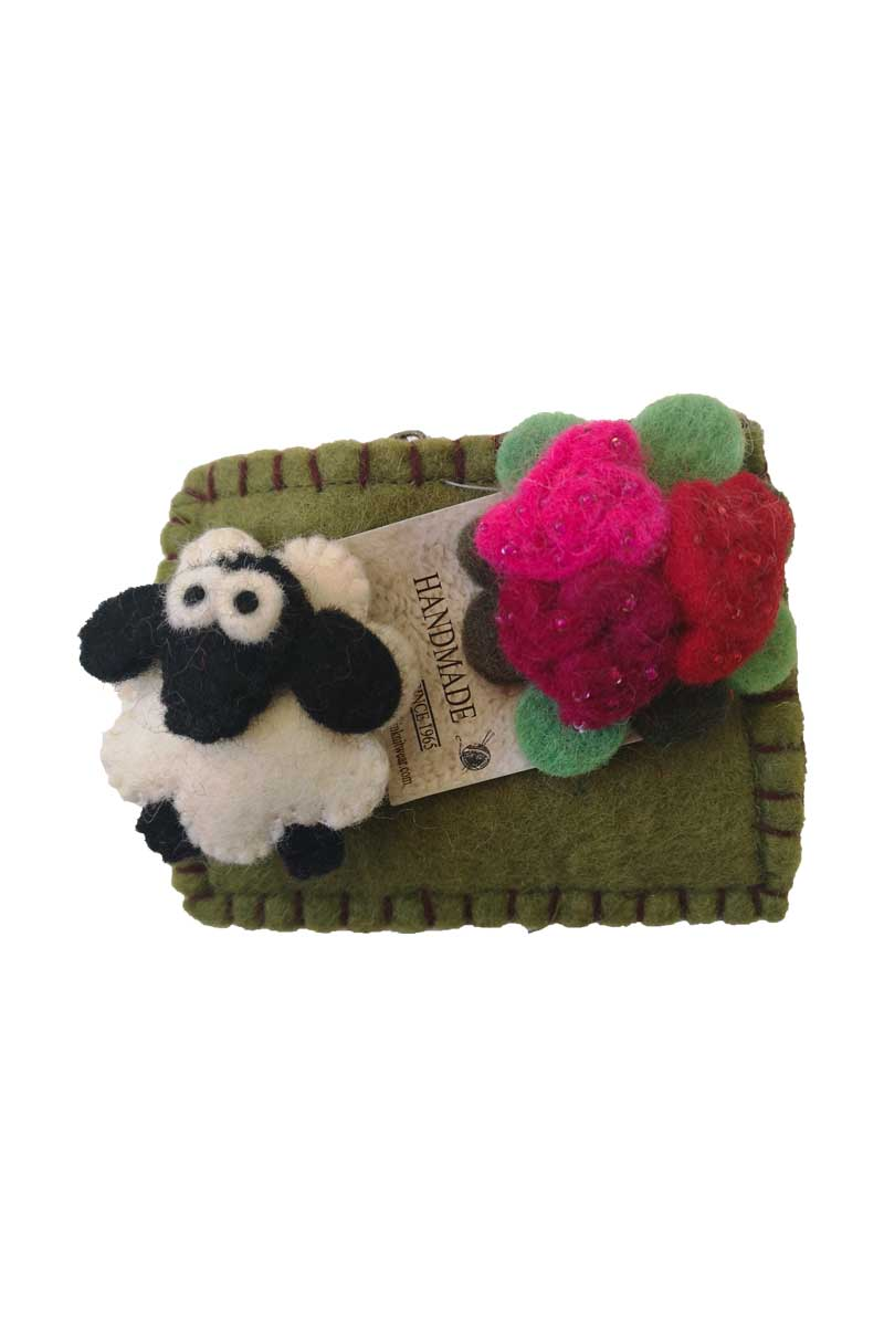 Erin Felt Wool Sheep Purse Bags Erin Knitwear Green