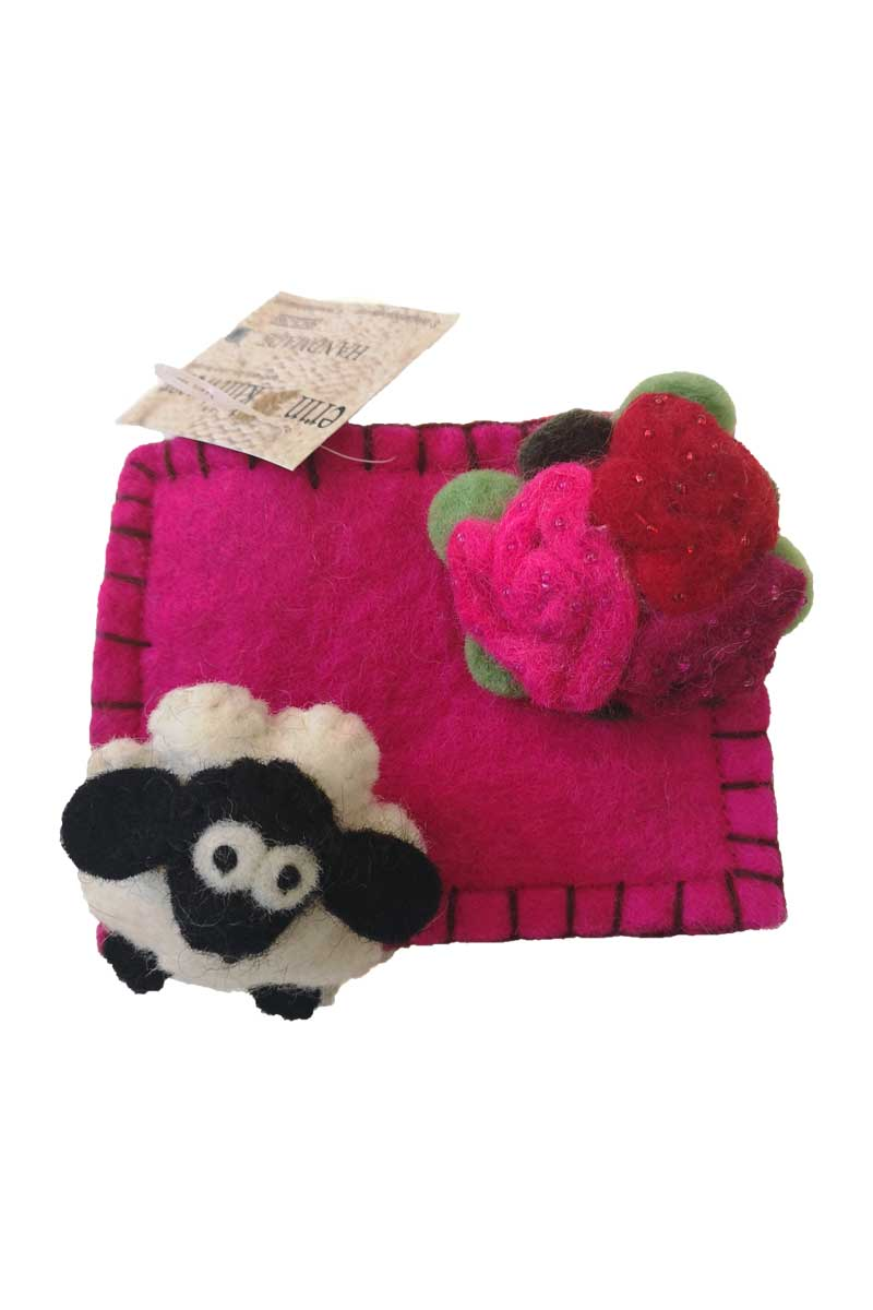 Erin Felt Wool Sheep Purse Bags Erin Knitwear Pink