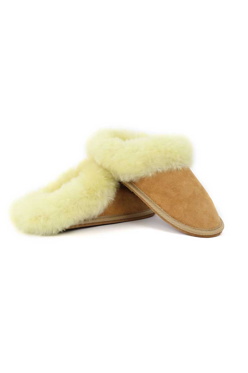 Sheepskin Mule Slippers - Beige Wool Slippers Yoko