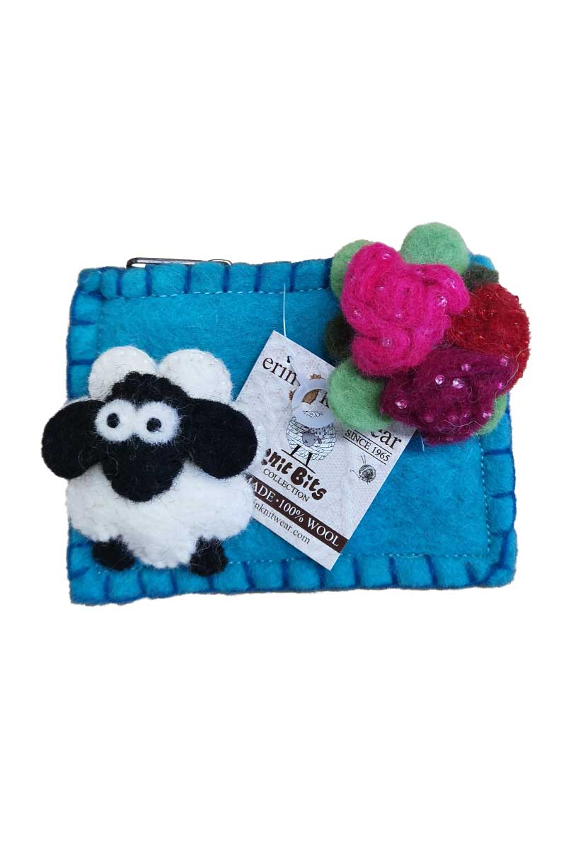 Erin Felt Wool Sheep Purse Bags Erin Knitwear Teal