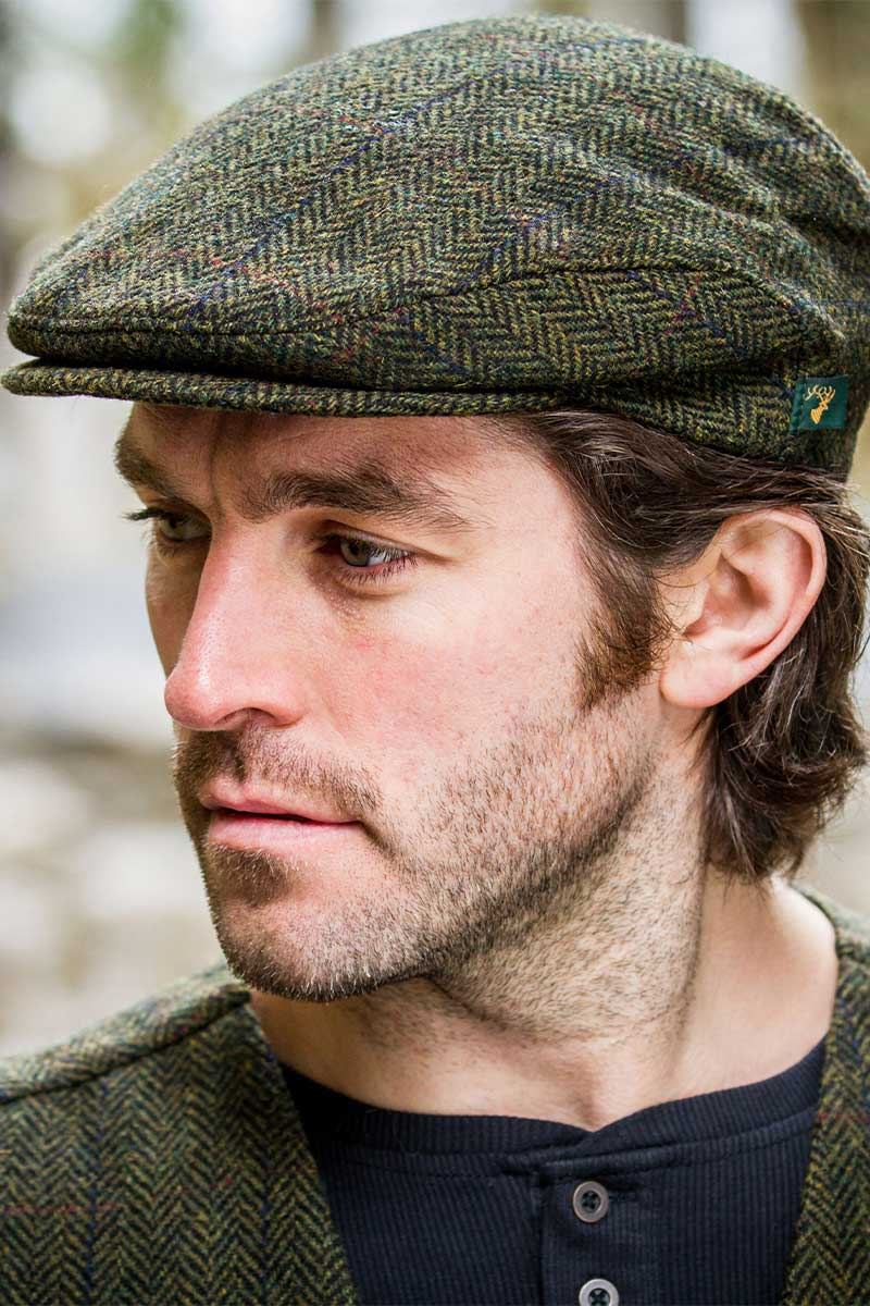 Irish Tweed Flat Cap- Green Trinity Caps Mucros