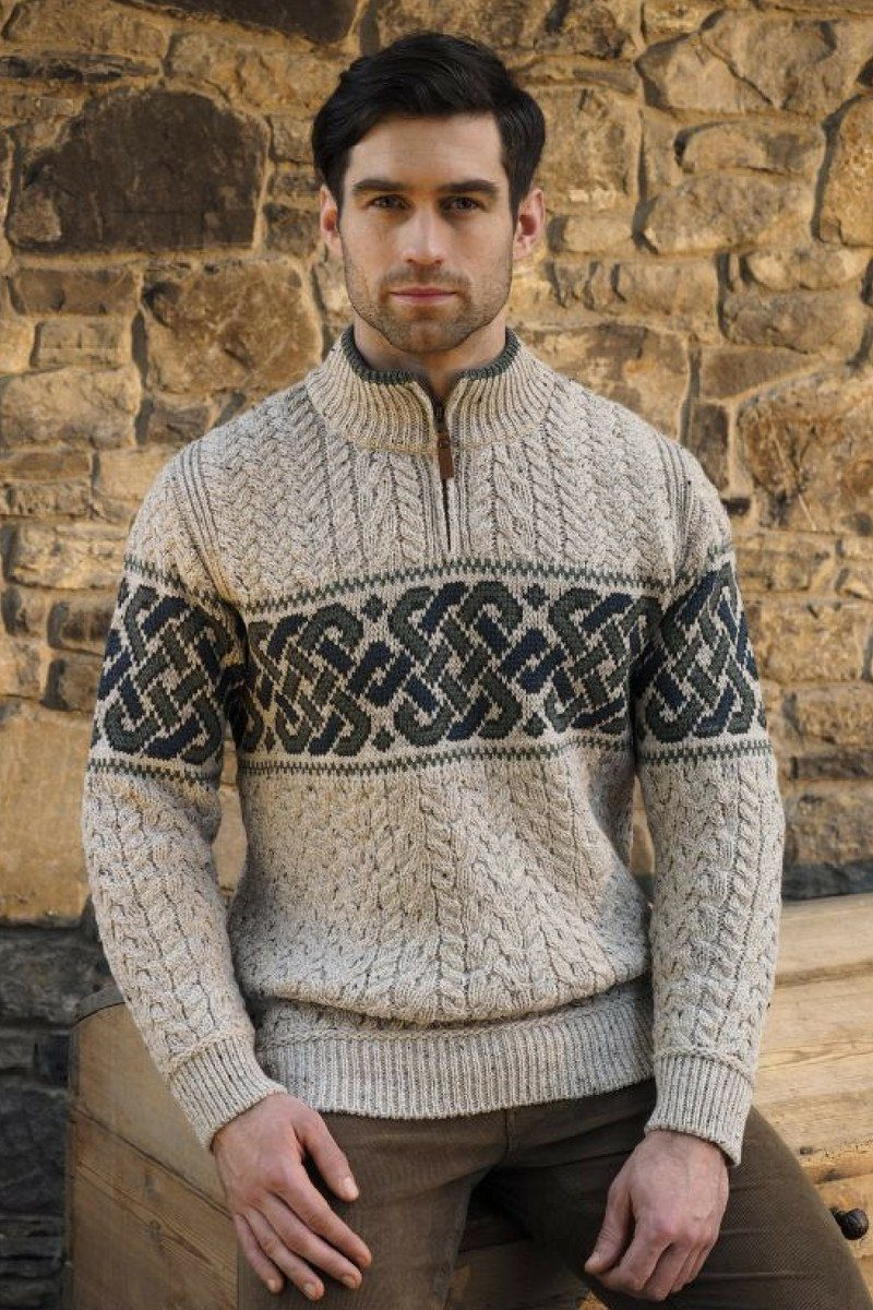 Celtic Half Zip Jacquard Men's Sweater X4843 - Oatmeal Westend