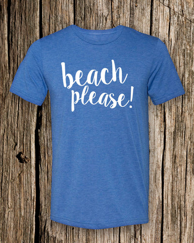 Beach Please Triblend Crew Neck T-shirt