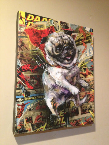 Power Pug - Giclee canvas reproduction