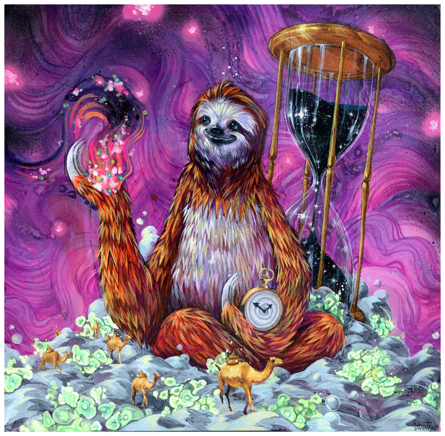 Time Master Poop Sloth - Giclee canvas reproduction