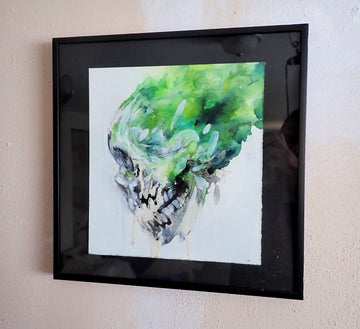 Green skull ~ Original Painting