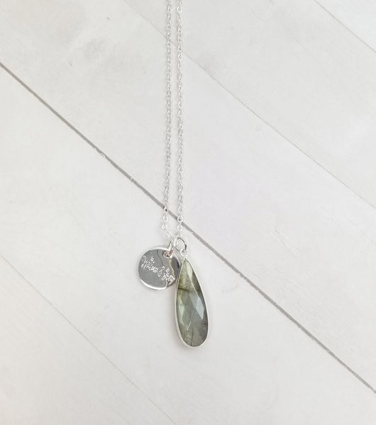 Labradorite Tear Drop Necklace - Silver
