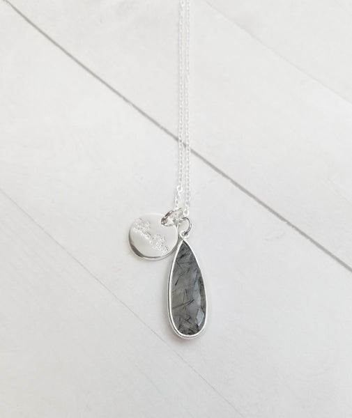 Black Rutilated Quartz Tear Drop Necklace - Silver