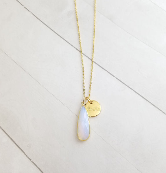 Moon Stone Tear Drop Necklace