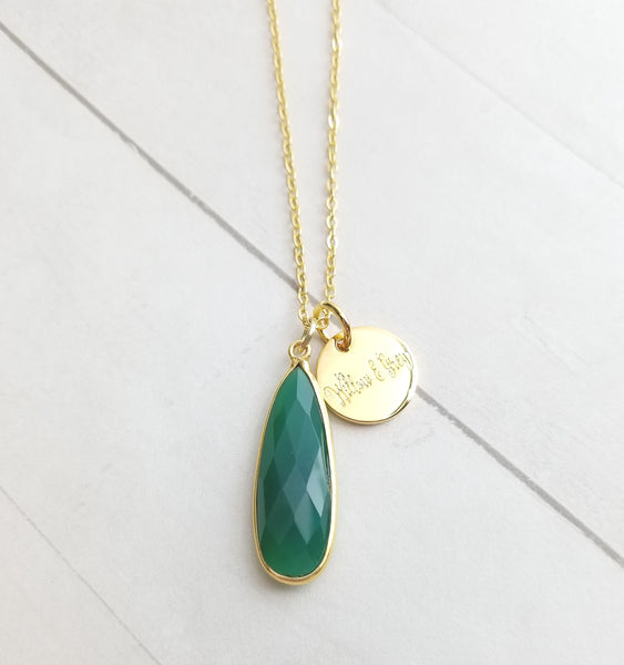 Green Onyx Tear Drop Necklace