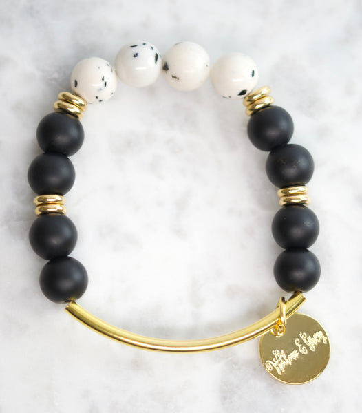 Stacking Bracelet - Black & Dalmation