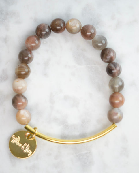 Stacking Bracelets - Brown Moonstone
