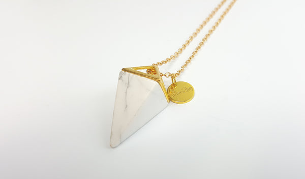 White Howlite Pyramid Necklace