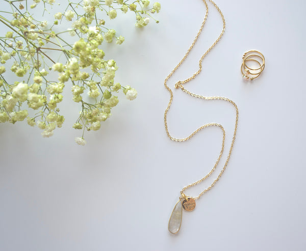 Gold Rutilated Tear Drop Necklace