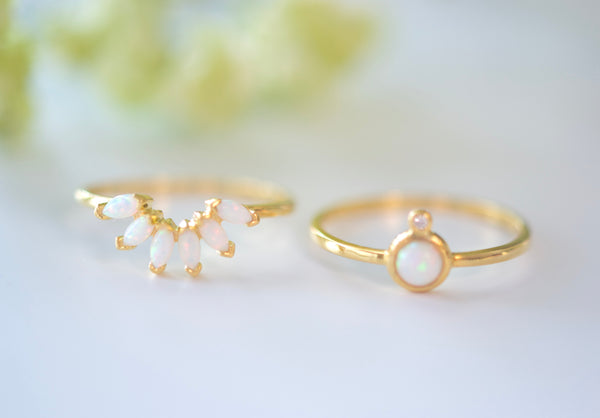 Opal Blossom Stacking Rings