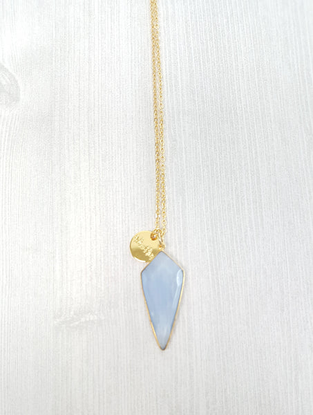 Light Blue Triangle Chalcedony Necklace