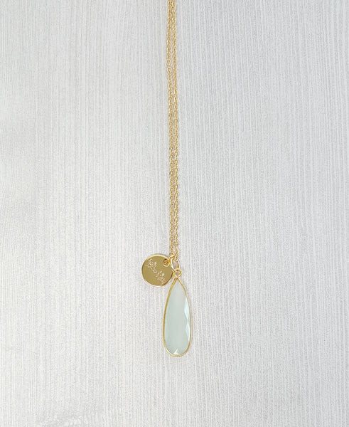 Light Blue Chalcedony Tear Drop Necklace