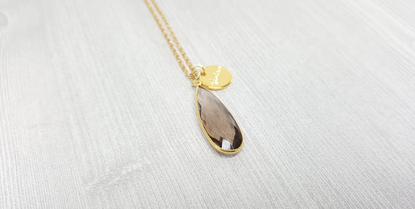 Smokey Quartz Tear Drop Necklace