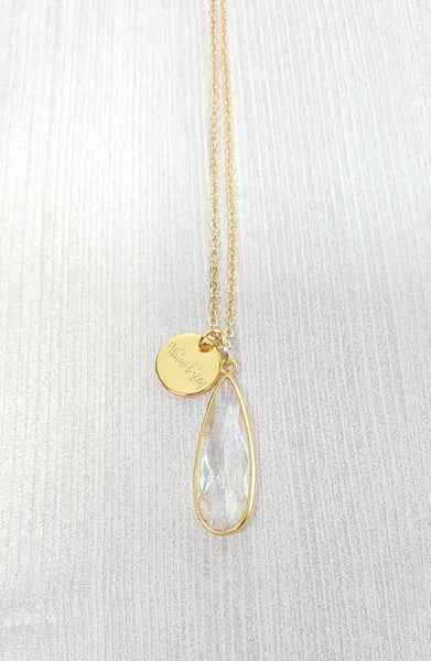 Crystal Quartz Tear Drop Necklace