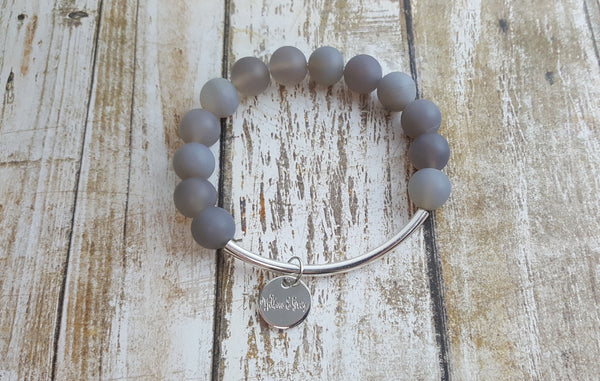 Stacking Bracelet - Matte Grey Agate