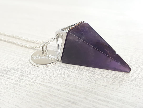 Amethyst Pyramid Necklace- Silver