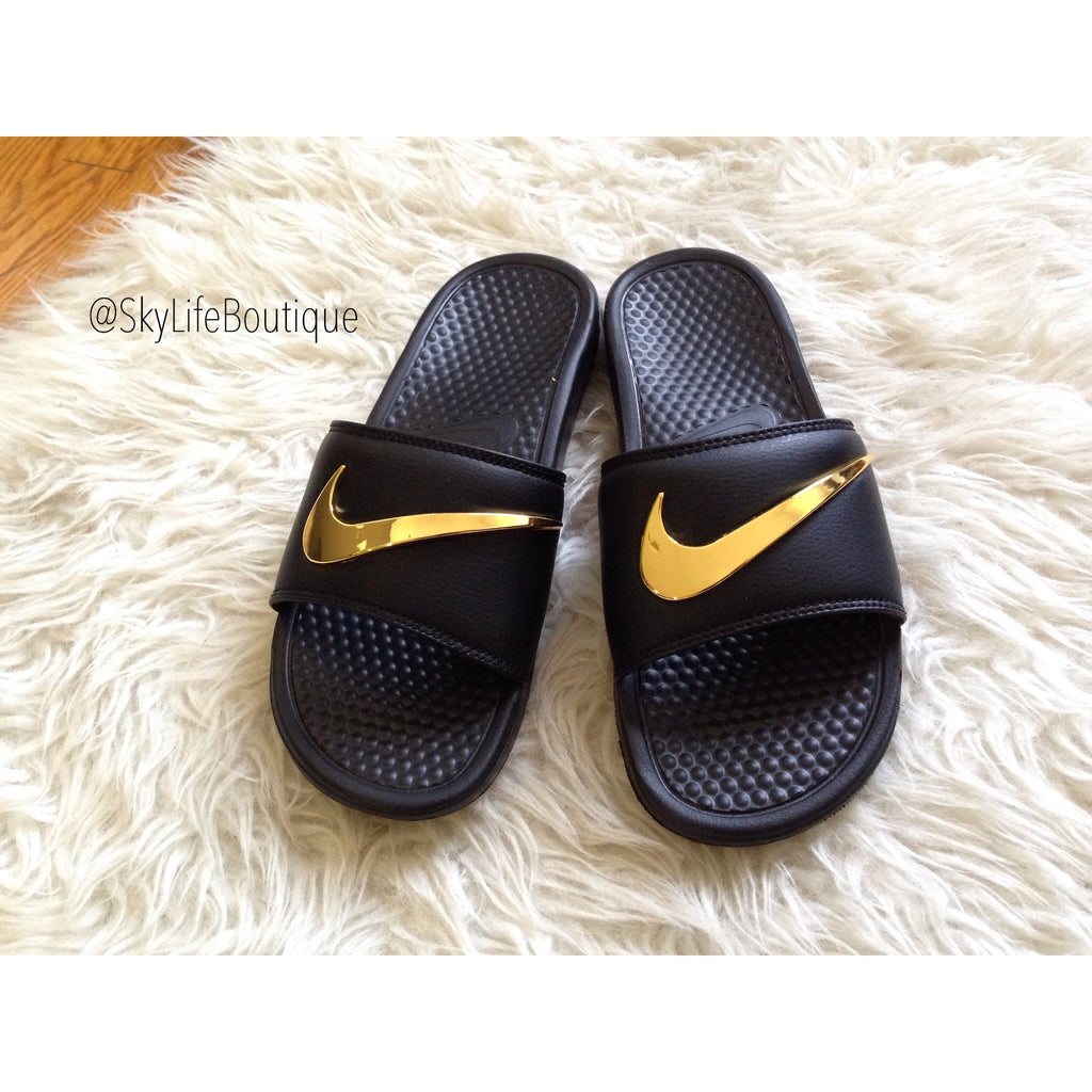 Nike Benassi Swoosh Golden Check Slides
