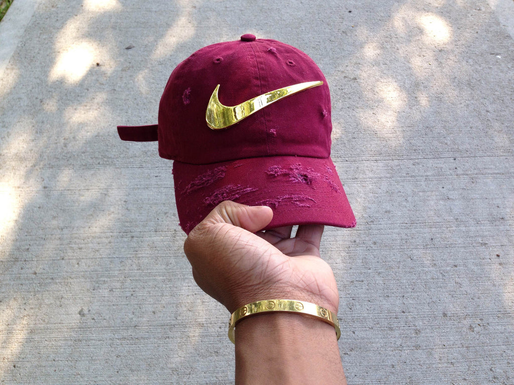 Burgundy Golden Check Dad Cap