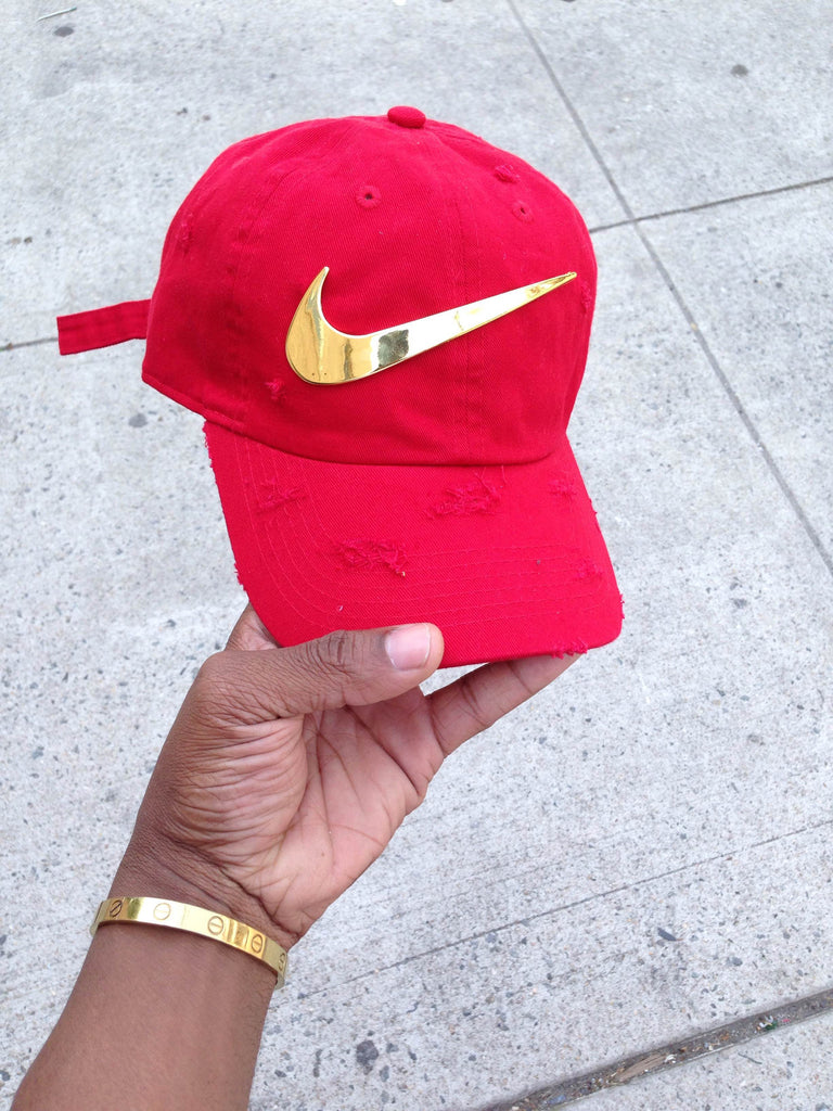 Red Golden Check Dad Cap