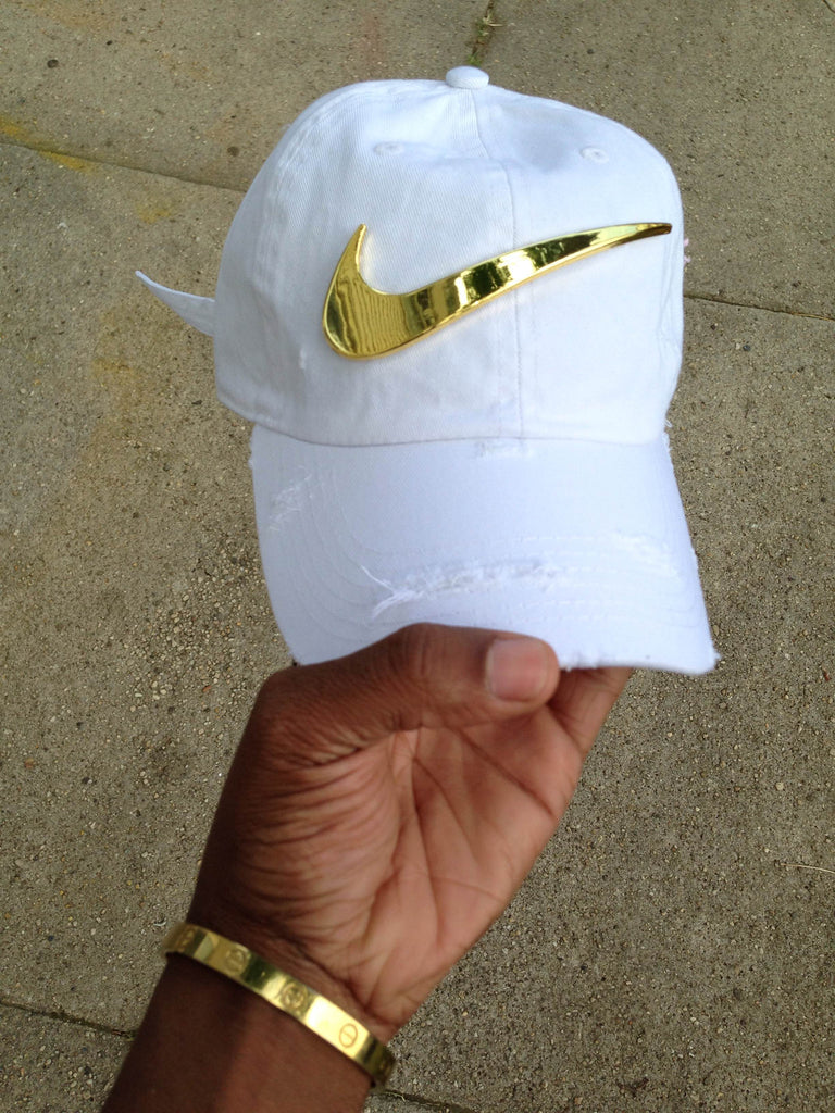 White Golden Check Dad Cap