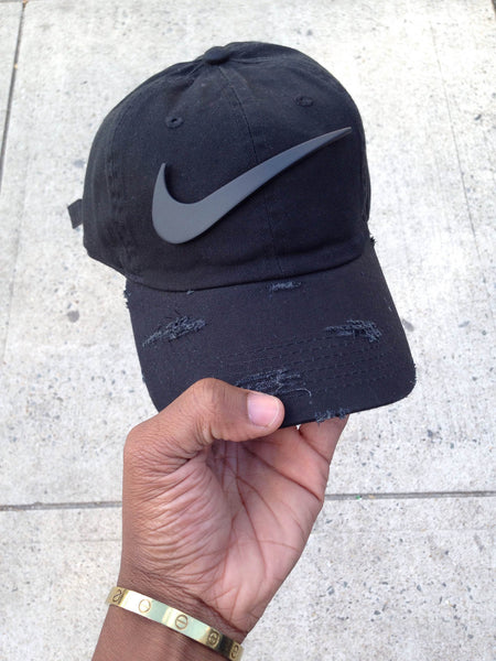 Matte Black Check Dad Cap