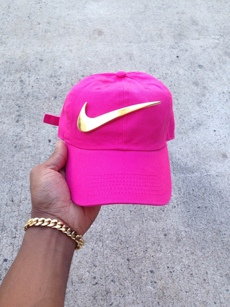 Hot Pink Golden Check Dad Cap