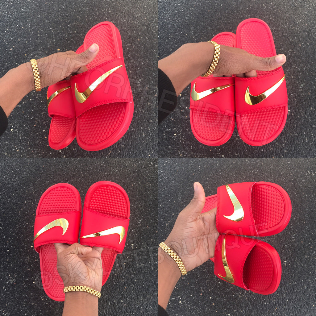 Nike Benassi Swoosh Red Golden Check Slides