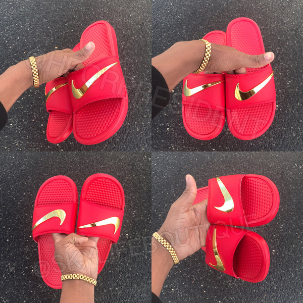 d31f7503a Nike Benassi Swoosh Red Golden Check Slides – SkyLife Boutique
