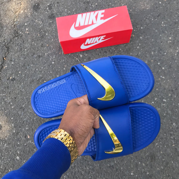 "Nike Benassi ""Royal"" Blue Gold Check Slides"