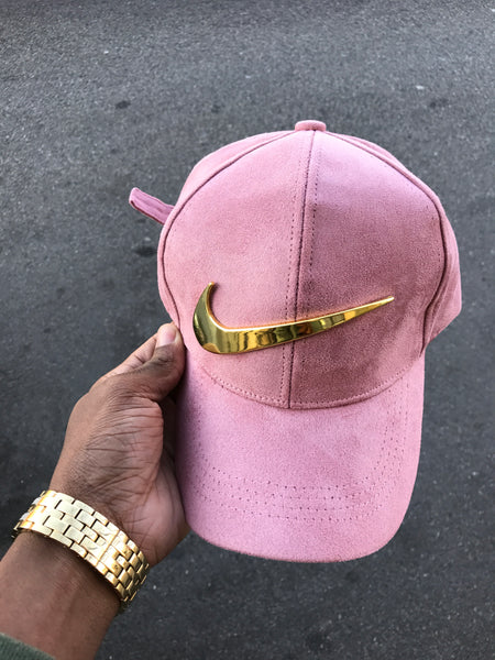 Pink Suede Gold Check cap -Pre Order