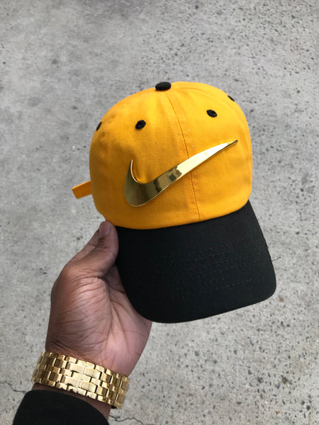 """Amarillo"" Black Brim Golden Check Dad Cap"