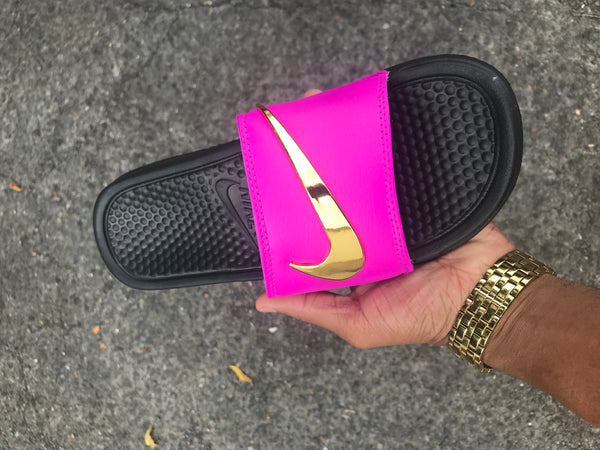 a0d6810ac Sold Out Hot Pink Strap Nike Benassi Swoosh Gold Check Slides -Pre Order