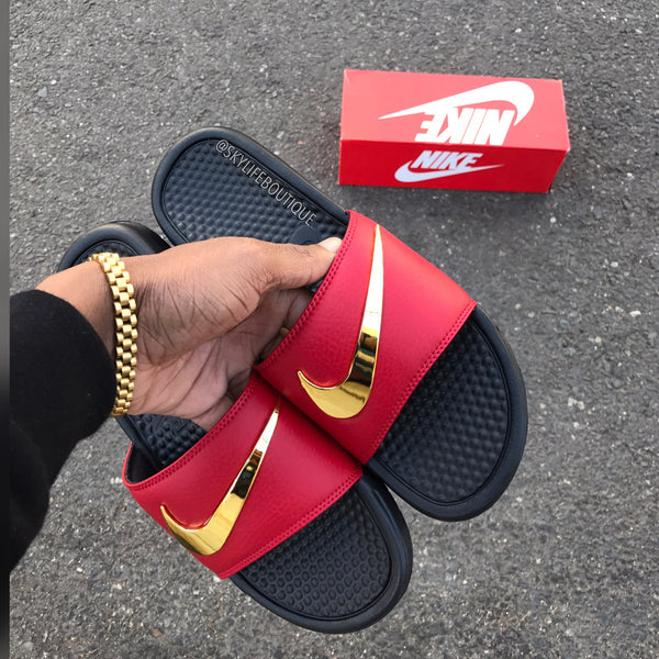 Nike Benassi Swoosh Ironman Golden Check Slides Pre