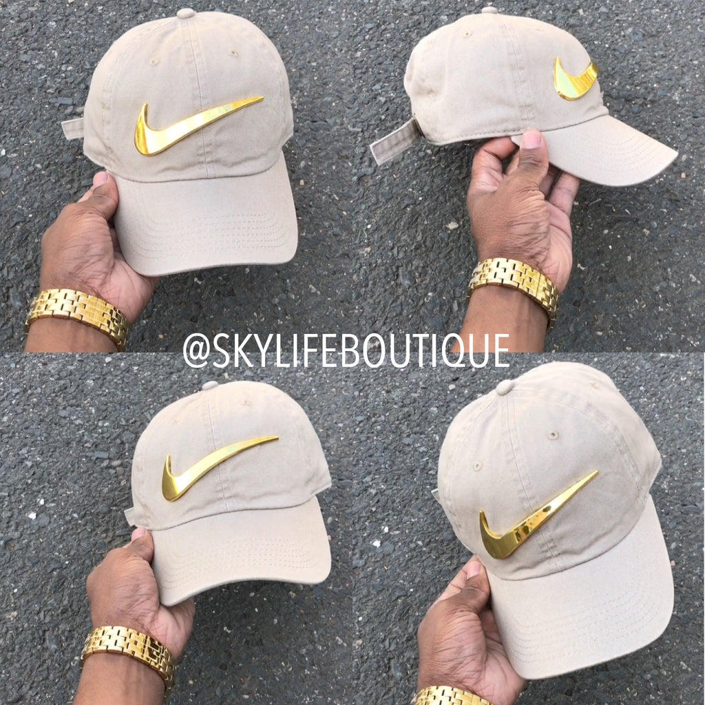 Khaki Golden Check Dad Cap