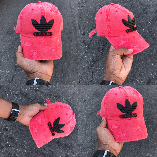 Red Washed  Distressed Matte Black Tre Foil Dad Cap