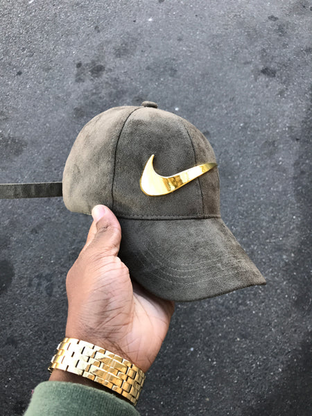 Olive Suede Gold Check cap -Pre Order