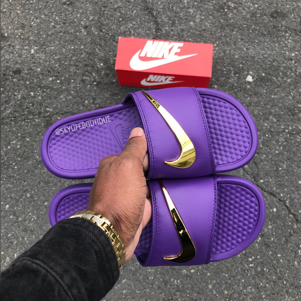 377295a167f4 Nike Benassi Purple Haze Gold Check Slides – SkyLife Boutique