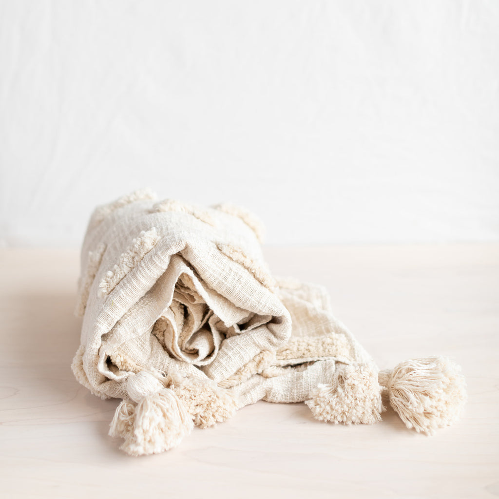 Textured Cream Throw