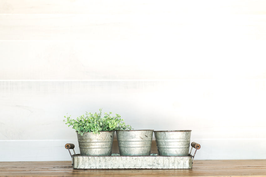Galvanized Pots with Tray