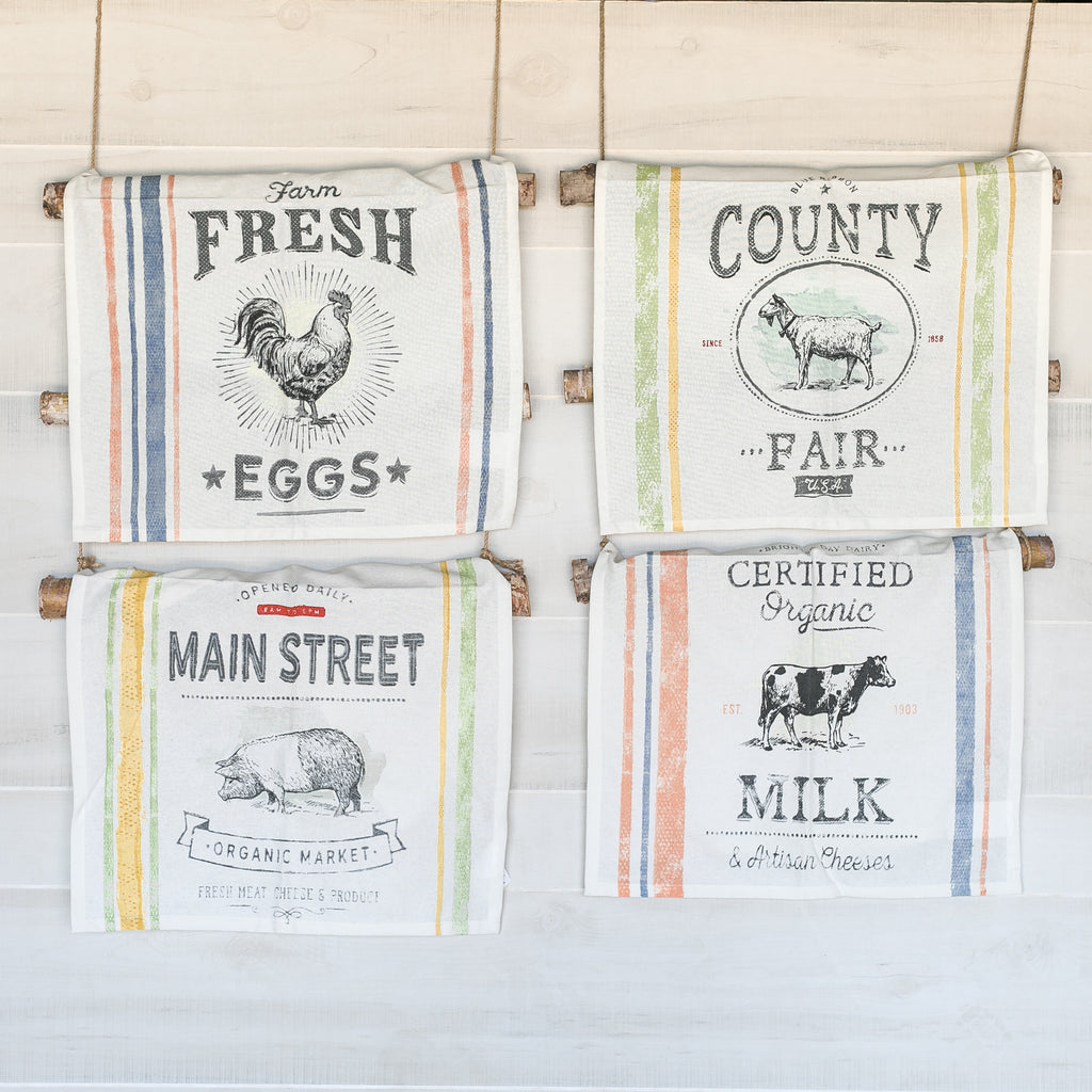 Set of 4 Farm Animal Tea Towels