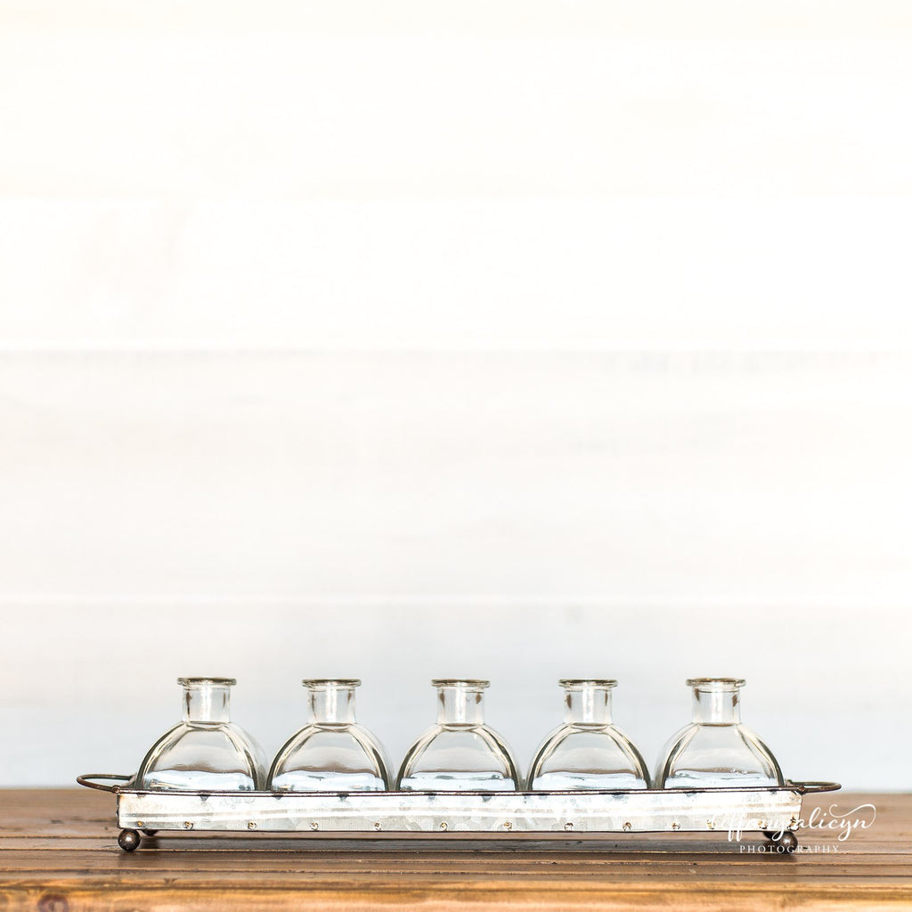 Metal Tray with Bud Vases