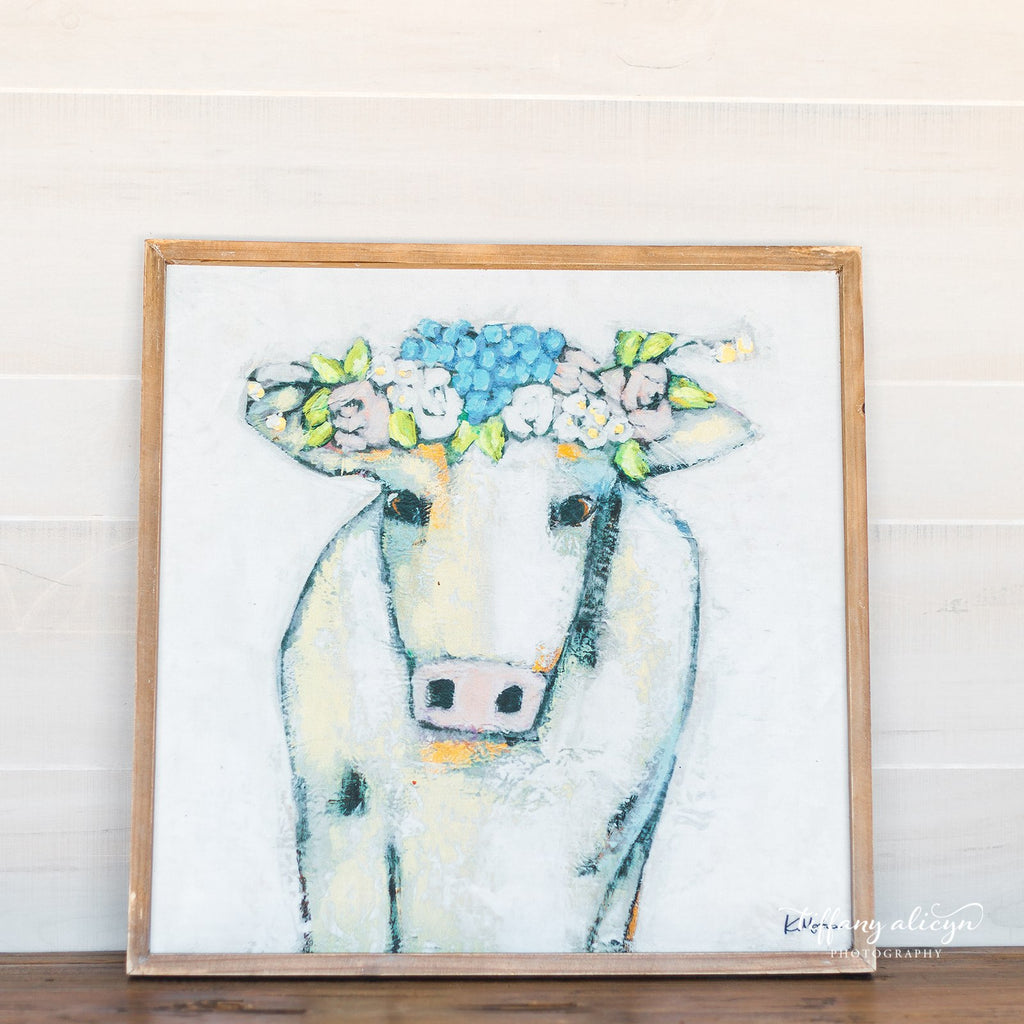 Floral Framed Cow Print