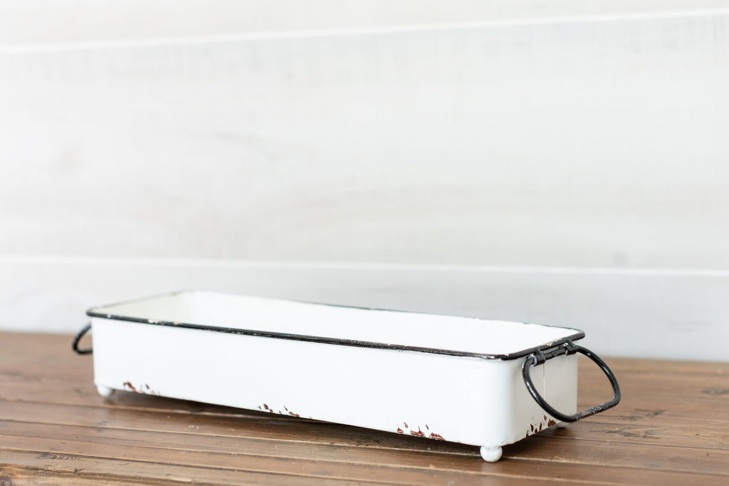 White Distressed Tray